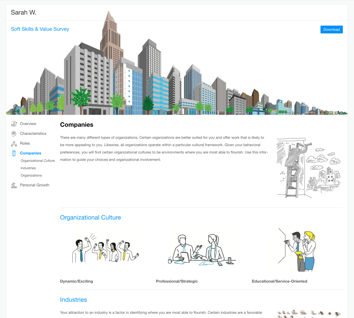 preview of Companies section